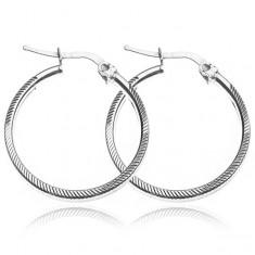 Šperky eshop - Kruhové náušnice zo striebra 925 - zárezy po celom obvode, 25 mm Y54.19