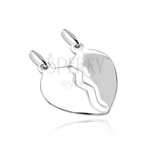 Prívesok zo striebra 925 - hladké zrkadlovo lesklé zlomené srdce