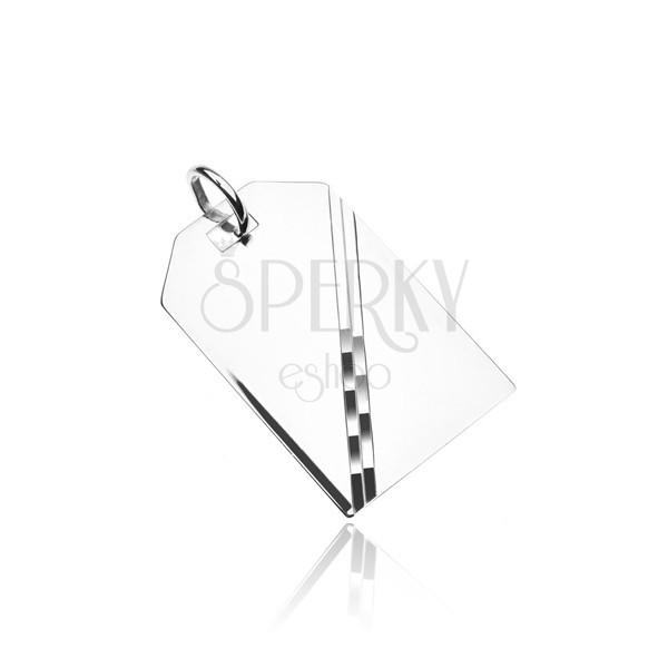 Strieborný prívesok 925 - zrkadlovo lesklá tabuľka s diagonálnou líniou