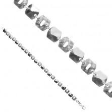 Strieborný náramok 925 - lesklé a mriežkované štvorce