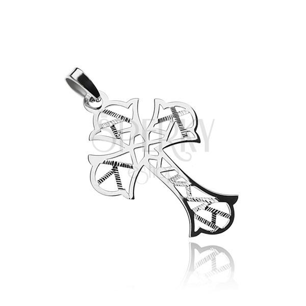 Strieborný prívesok 925, kríž s geometrickými výrezmi