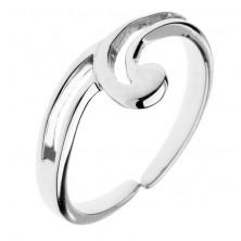 Strieborný prsteň 925 - výbežok v tvare vlnky, dvojitá linka, nastaviteľný