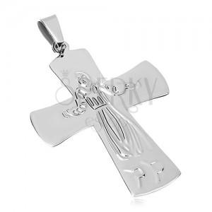 5bdbecc3d Prívesok z chirurgickej ocele, Ježiš na kríži, strieborná farba ...
