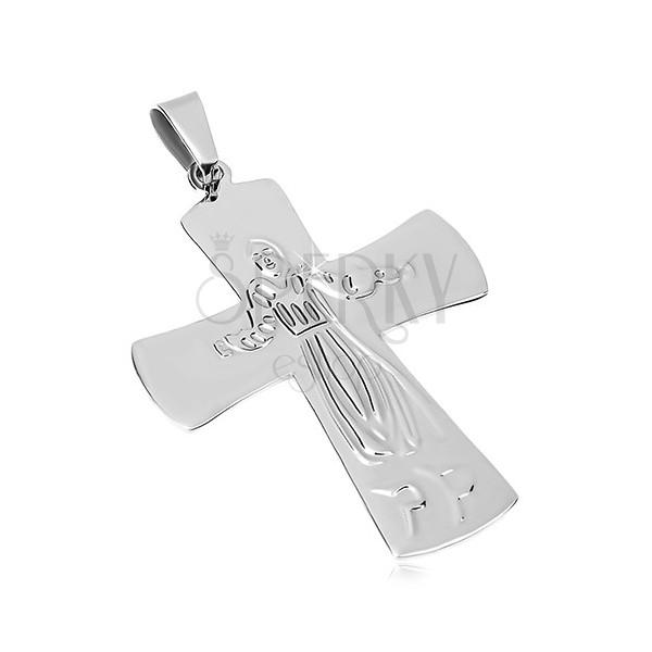 Prívesok z chirurgickej ocele, Ježiš na kríži, strieborná farba