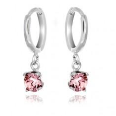 Šperky eshop - Náušnice zo striebra 925 - malé krúžky, visiaci ružový zirkón T4.8
