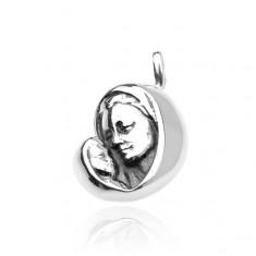 95b766fd8 Šperky eshop - Strieborný prívesok 925 - Panna Mária s dieťatkom, jemne  patinovaný Q10.