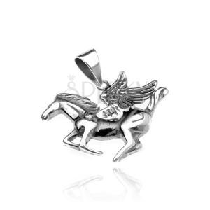 Strieborný prívesok 925 - okrídlený kôň Pegas, jemne patinovaný