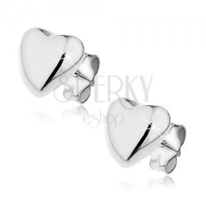 Puzetové náušnice zo striebra 925 - vypuklé srdce, 7 mm