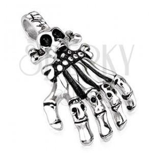Oceľový prívesok - ruka kostlivca s článkami v podobe lebiek, patinovaný