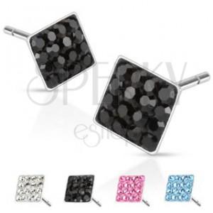 Oceľové náušničky - štvorčeky so vsadenými zirkónmi, 6 mm