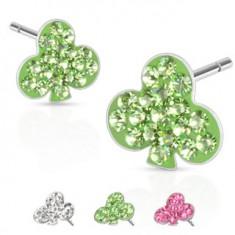 Šperky eshop - Oceľové náušnice - kartový symbol trojlístok, kamienky, puzetka Y55.7 - Farba: Číra
