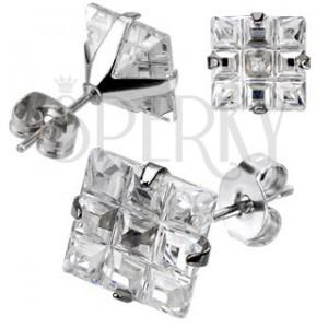 Puzetové náušničky z ocele - štvorcový brúsený zirkón