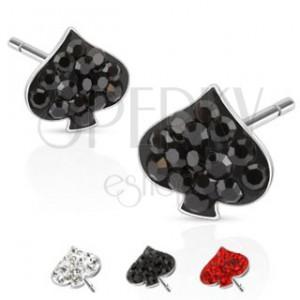 Náušničky z ocele - kartový znak list, farebné kamene a puzetka