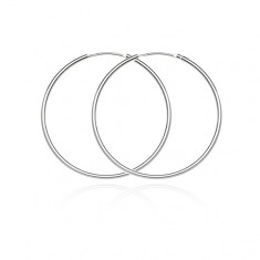 Šperky eshop - Kruhové náušnice zo striebra 925 - jednoduchý, hladký dizajn, 30 mm A16.6