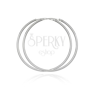 Strieborné okrúhle náušnice 925- lesklý a hladký povrch, 55 mm