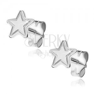 Strieborné puzetové náušnice 925 - päťcípa hviezda s gravírovaním