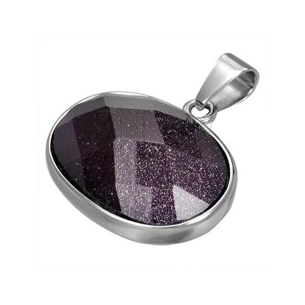 Prívesok z chirurgickej ocele fialový oválny polodrahokam