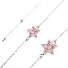 53108c3f6 Šperky eshop - Strieborný náramok 925 - retiazka s ružovou hviezdou a  zirkónmi U12.13