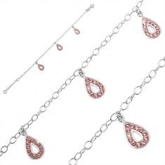 Šperky eshop - Náramok zo striebra 925 - tri slzičkové prívesky, ružové zirkóny U5.16