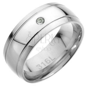 Oceľový prsteň - dva rovnobežné pásy, v strede číry zirkón