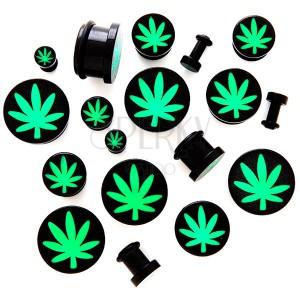 Plug do ucha z akrylu s motívom marihuany