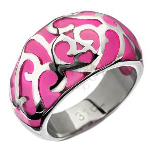 Prsteň z ocele - ružový s kovovou dekoráciou, srdiečko