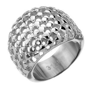 Oceľový prsteň - vypuklý s mriežkovanou štruktúrou