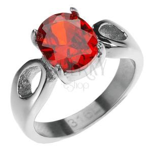 Oceľový prsteň - vystúpený červený kameň, slzičky