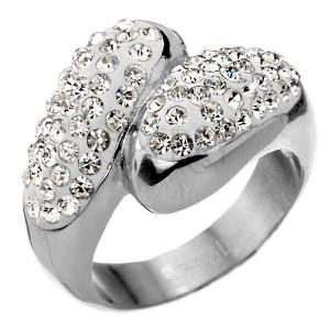 Oceľový prsteň s bohatým zirkónovým zdobením