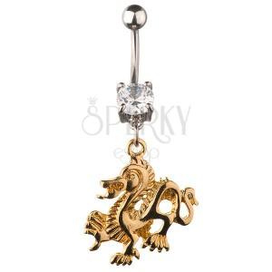 Piercing do pupku - čínsky drak zlatej farby