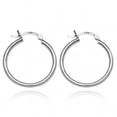 Šperky eshop - Strieborné kruhové náušnice 925 - hrubé hladké kruhy, 25 mm A3.9
