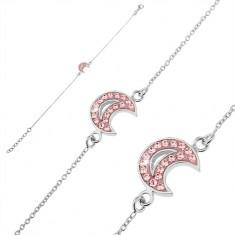 Šperky eshop - Retiazka na ruku zo striebra 925 - mesiac s ružovými zirkónmi U12.17
