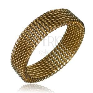 Oceľový prsteň - retiazkový remienok, zlatá farba, 6 mm