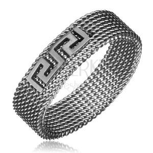 Prsteň z ocele - retiazkový s gréckym kľúčom, strieborná farba, 6 mm