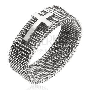 Prsteň z ocele - retiazkový remienok s krížom, strieborná farba, 8 mm