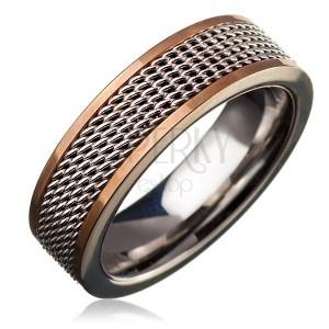 Oceľový prsteň - retiazkový stredový pás, lem zlatej farby