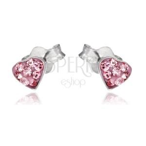 Strieborné puzetové náušnice 925 - ružové srdce so zirkónmi