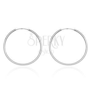 Kruhové náušnice zo striebra 925 - úzky, hladký dizajn, 20 mm