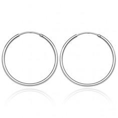 Šperky eshop - Okrúhle náušnice zo striebra - lesklý a hladký povrch, 25 mm S6.3