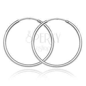 Strieborné náušnice kruhy 925 - jednoduchý lesklý dizajn, 30 mm