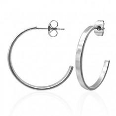 Šperky eshop - Náušnice z chirurgickej ocele striebornej farby, kruhy, 20 mm X03.03