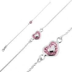 Šperky eshop - Strieborný náramok 925 - ružové srdce s výplňou a zirkónikmi T9.10