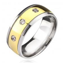 Titánový prsteň - dvojfarebný so zirkónmi