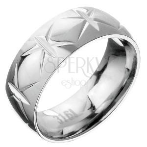 Oceľový prsteň - obruč s krížovými zárezmi
