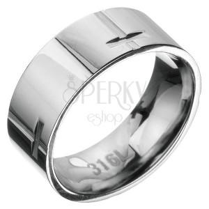 Oceľový prsteň - obruč s krížovým vzorom