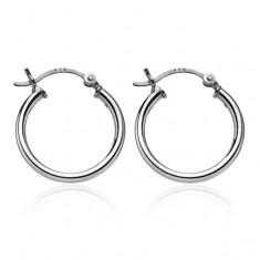 Šperky eshop - Strieborné kruhové náušnice 925 - hladký jednoduchý povrch, 20 mm A11.12