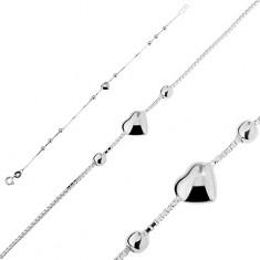 Šperky eshop - Strieborný náramok 925 - plné srdiečko s guličkami T13.9