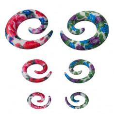 Špirála do ucha - farebný kvetovaný vzor