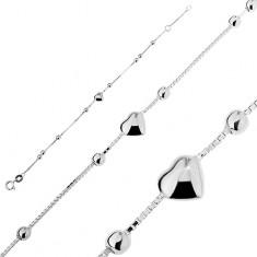 Šperky eshop - Strieborný náramok 925 - vypuklé srdiečko s guľôčkami T5.12