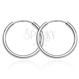 Strieborné náušničky 925 - hladké lesklé kruhy, 22 mm